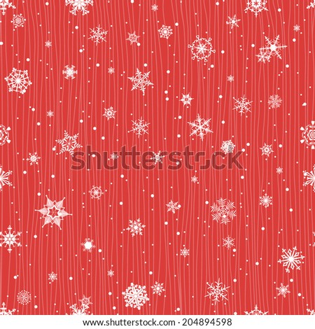 Seamless winter pattern with snowflakes in red color - stock vector