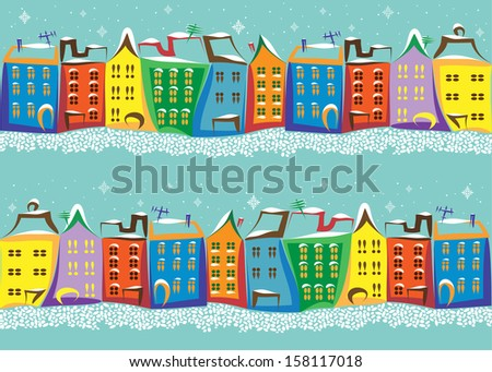 Seamless winter pattern with street of old town with colored houses and paving stone on the blue background.