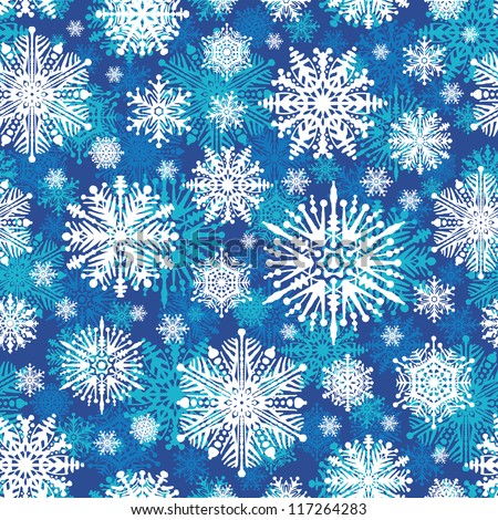 Seamless winter snowflakes vector background