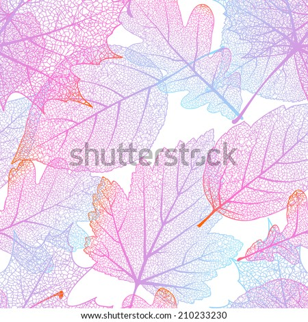 Seamless with autumn leaves on white background. EPS 10 vector file included - stock vector