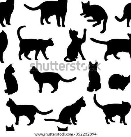 Seamless  with black cat.(can be repeated and scaled in any size) - stock vector
