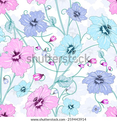 seamless with colorful abstract flowers on white background, vector illustration - stock vector