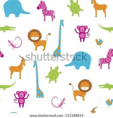 Seamless with cute African animals - stock vector