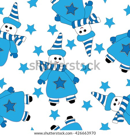 Seamless with cute blue snow man and star. Vector illustration seamless for banner, card, invitation, textile, fabric, wrapping paper.