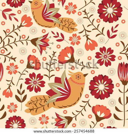 Seamless with flowers and birds.  Vector illustration. - stock vector