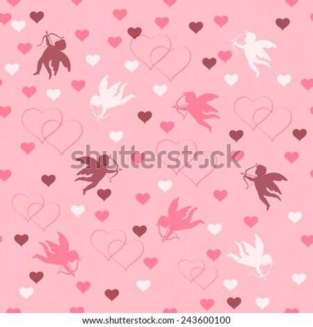 seamless with hearts and cupid on pink background, vector illustration - stock vector