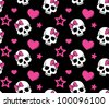 Seamless with hearts and skulls. Vector version. - stock vector
