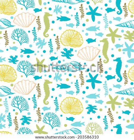 Seamless with marine motifs.  Seamless pattern for fabric, paper and other printing and web projects.