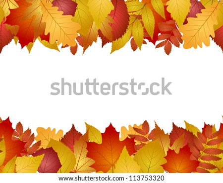 seamless with red and yellow autumn leaves. vector illustration - stock vector