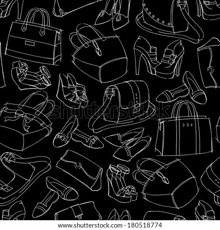 Seamless woman's fashion accessory bags and shoes sketch pattern background vector illustration.  - stock vector