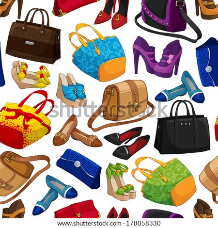 Seamless woman's fashion accessory bags and shoes wallpaper pattern background vector illustration - stock vector