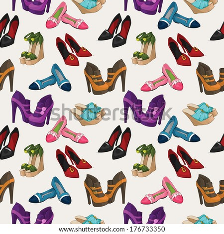 Seamless woman's fashion shoes pattern background vector illustration - stock vector