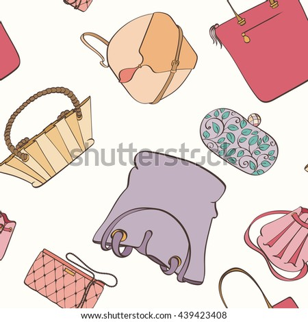 Seamless women bag pattern can be used for wallpaper, website background, wrapping paper. Fashion women bag vector bright pattern. Bag design. Fashion concept. - stock vector