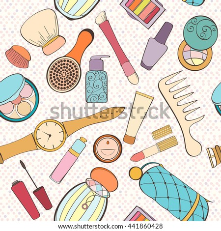Seamless women bag stuff pattern can be used for wallpaper, website background, wrapping paper. Women cosmetic vector bright pattern. Cosmetic design. Fashion concept.
