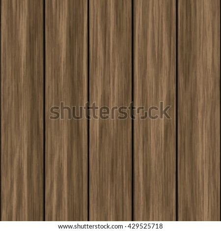 Seamless wooden striped fiber textured background. High quality vector wood texture. Dark hardwood part of parquet. Close up brown grainy surface plywood floor or furniture. Old timber panel. - stock vector