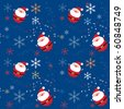 Seamless xmas pattern with santa and snowflakes - stock vector