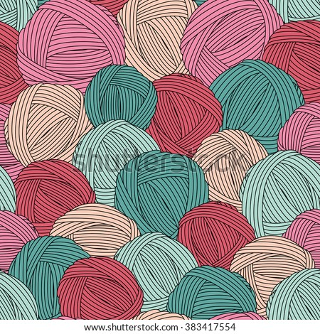Seamless yarn balls pattern.