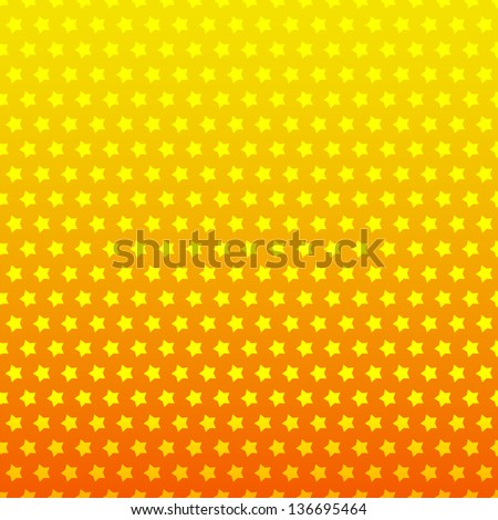 Seamless yellow and orange star background. Vector illustration for your majestic design. Color vibrant and flow effect. Can be used for book, textile, web page background, surface texture. - stock vector
