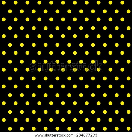 seamless yellow polka dots on black background
