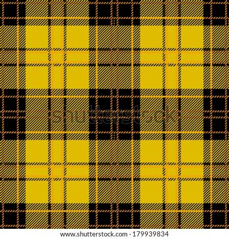Seamless Yellow Tartan Plaid Design  - stock vector