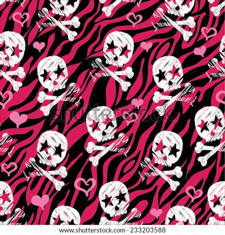 Seamless Zebra Star Skull Print - Repeating Background & Wallpaper - stock vector
