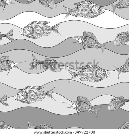 Seamless Zentangle fish background. Vector illustration image