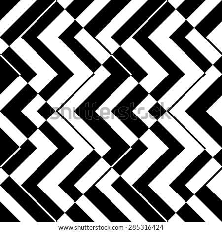 Seamless Zig Zag Pattern. Abstract  Monochrome Background. Vector Regular Texture - stock vector