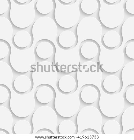 Seamless ZigZag and Circle Pattern. Vector Soft Background. Regular White Texture