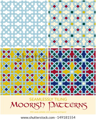 Seamlessly tiling moorish patterns. Easily editable with layers and color swatches. - stock vector