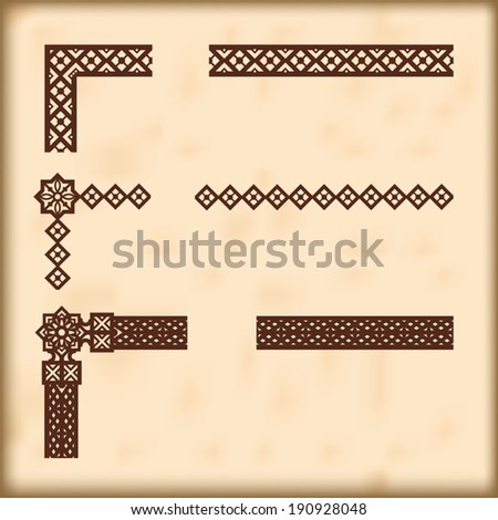 Seamlessly tiling small borders with corner elements - stock vector