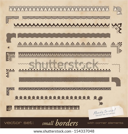 seamlessly tiling small borders with corner elements - saved as brushes - stock vector