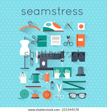 Seamstress workplace. Sewing items and tools. Tailor, fashion designer, needlework, tailoring, custom tailoring. Hand made. Creative workspace. Set of flat illustrations. - stock vector