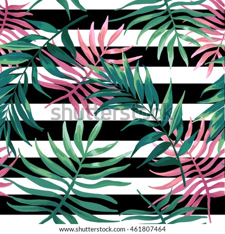 Seanless pattern of tropical palm leaves, fern, jungle leaves on a black stripes.