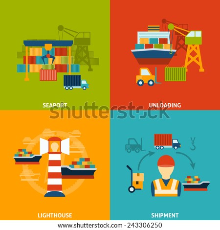 Seaport design concept set with unloading lighthouse shipment flat icons isolated vector illustration - stock vector