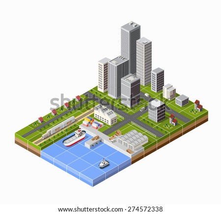 Seaport with the marina. Cargo ships in perspective. Set design for the ships. - stock vector