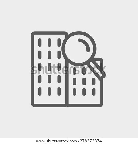 Search building icon thin line for web and mobile, modern minimalistic flat design. Vector dark grey icon on light grey background. - stock vector