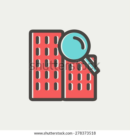 Search building icon thin line for web and mobile, modern minimalistic flat design. Vector icon with dark grey outline and offset colour on light grey background. - stock vector