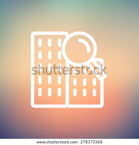 Search building icon thin line for web and mobile, modern minimalistic flat design. Vector white icon on gradient mesh background. - stock vector