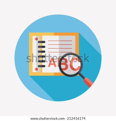 search Dictionary book flat icon with long shadow,eps10 - stock vector