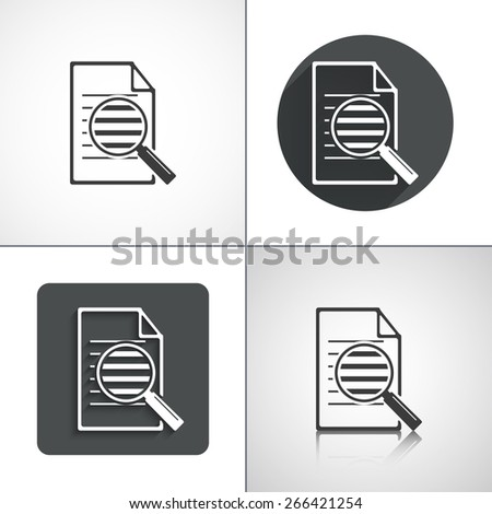 Search document icon. Flat shadow designs. Vector illustration. - stock vector