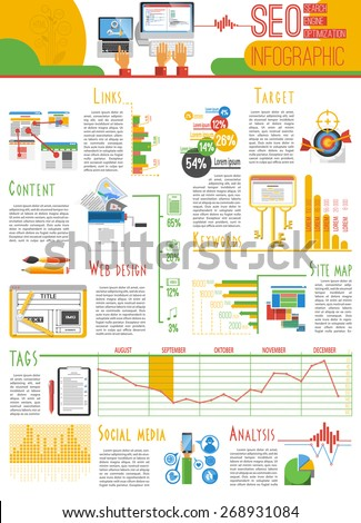 Search engine optimization for web pages visibility results and analysis infograhic report presentation poster abstract vector illustration - stock vector