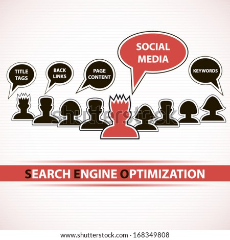 Search engine optimization group concept art red design - stock vector