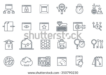 Search engine optimization icon set suitable for info graphics, websites and print media. Black and white flat line icons. - stock vector