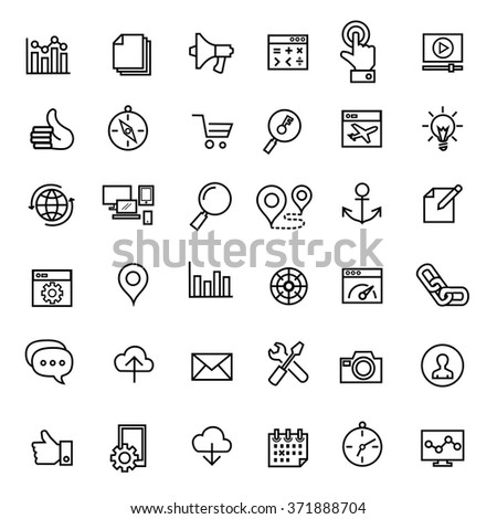 Search Engine Optimization icons vector.out line - stock vector