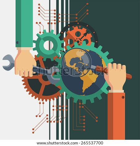Search Engine Optimization Illustration. Vector illustration. Search Engine Optimization Conceptual. Easily edited with good file structure. - stock vector