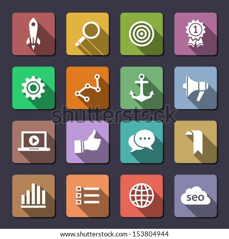 Search engine optimization, internet marketing icons. Flaticons series. Vector icons - stock vector