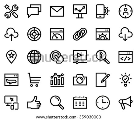 Search engine optimization line icon set. Pixel perfect fully editable vector icon suitable for websites, info graphics and print media.