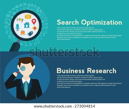 Search Engine Optimization programming business up trend statistics flat design style. Link between information system strategy and business strategy - stock vector