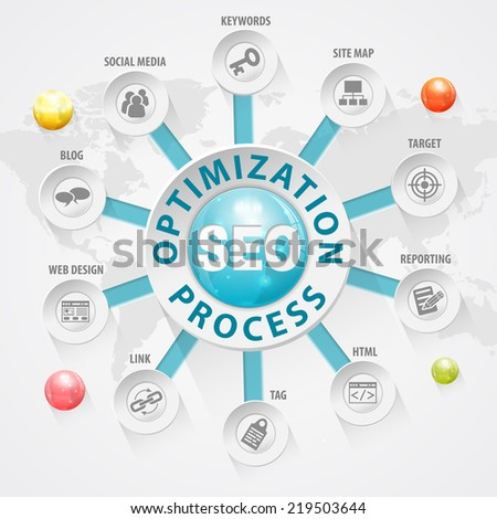 Search Engine Optimization (SEO) Concept with Buttons and Icons. Vector Template - stock vector