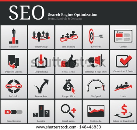 Search Engine Optimization - SEO - Icons and Symbols  - stock vector